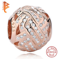 New Fashion 925 Sterling Silver Gold Color Pave Ball Charm CZ Beads Fit Original Pandora Bracelet