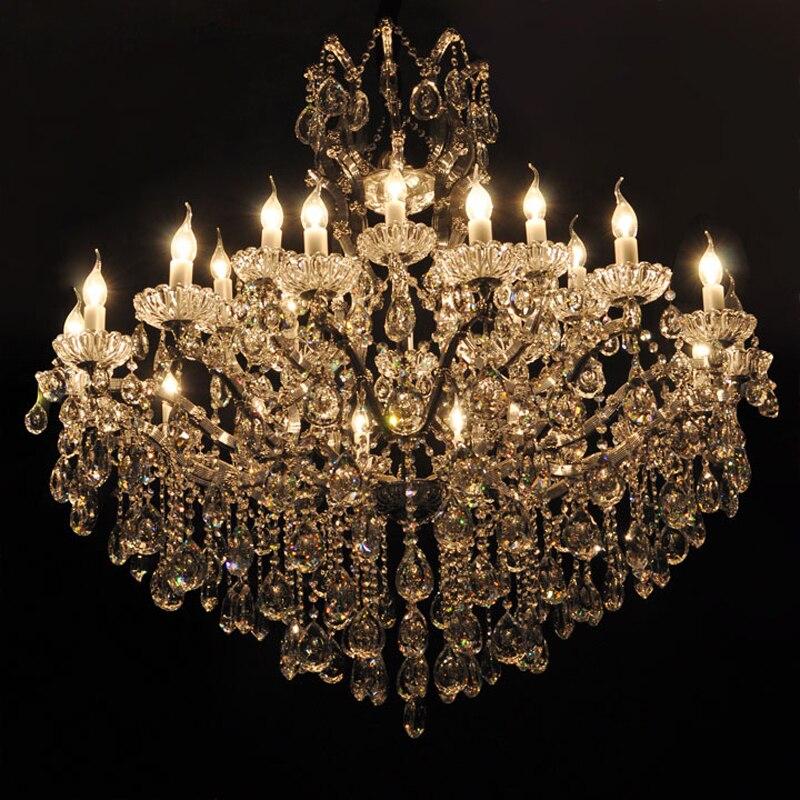 modern crystal chandelier light fixture chrome finish luxury lustres de cristal pendants chandeliers home lighting indoor lamp
