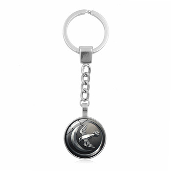 Game of Thrones Keychain Glass Round Dome Metal Key Chain Pendant Fashion Jewelry Silver Key Ring Chain Women Men