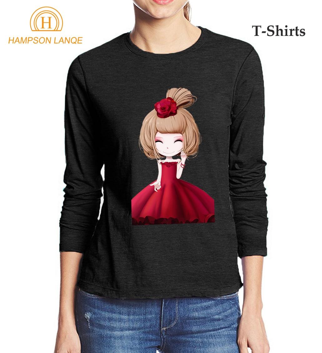 Kawaii Girls Printed Cute Women's T Shirt 2017 Summer Autumn 100% Cotton Women Long Sleeve T-Shirt Slim Fit Elegant Tops Tees