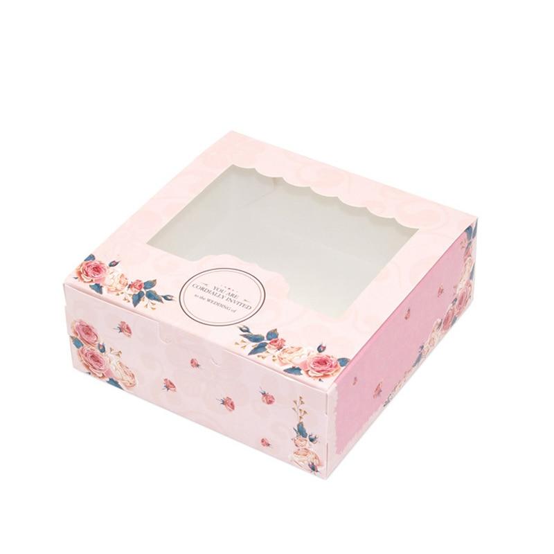 100 pcs gift paper box with window for wedding kids rose kraft Paper box cake food