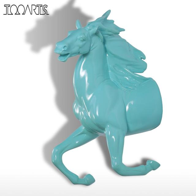 Tooarts Resin Statue Running Horse Sculpture Wall Decor Hook Coat Hat Decorative Office Home