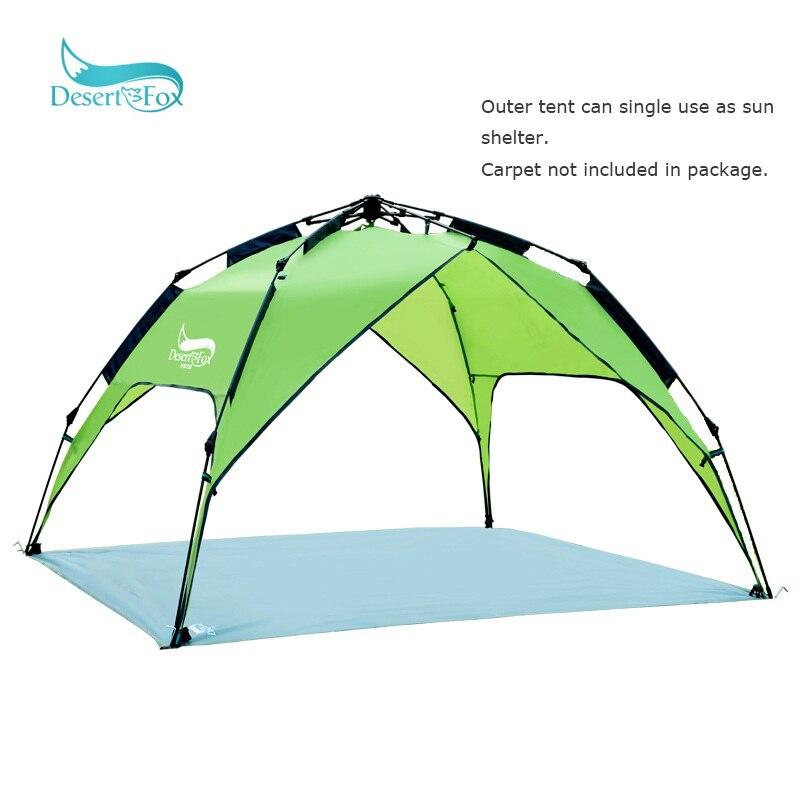 Tente de Camping automatique Desert & Fox pour 3-4 personnes, installation instantanée facile sac à dos portable pour abri solaire, voyage, randonnée - 5