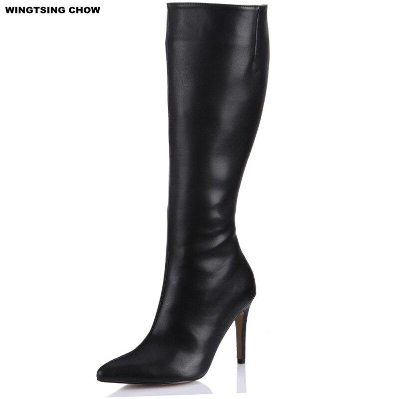 timeless design e719a 692cf US $45.04 15% OFF|Neue Marke Herbst Schuhe Leder Frauen Stiefel Schwarz  Sexy Spitzschuh Kniehohe Stiefel Fashion Business Damen Schuhe Plus  Größe-in ...