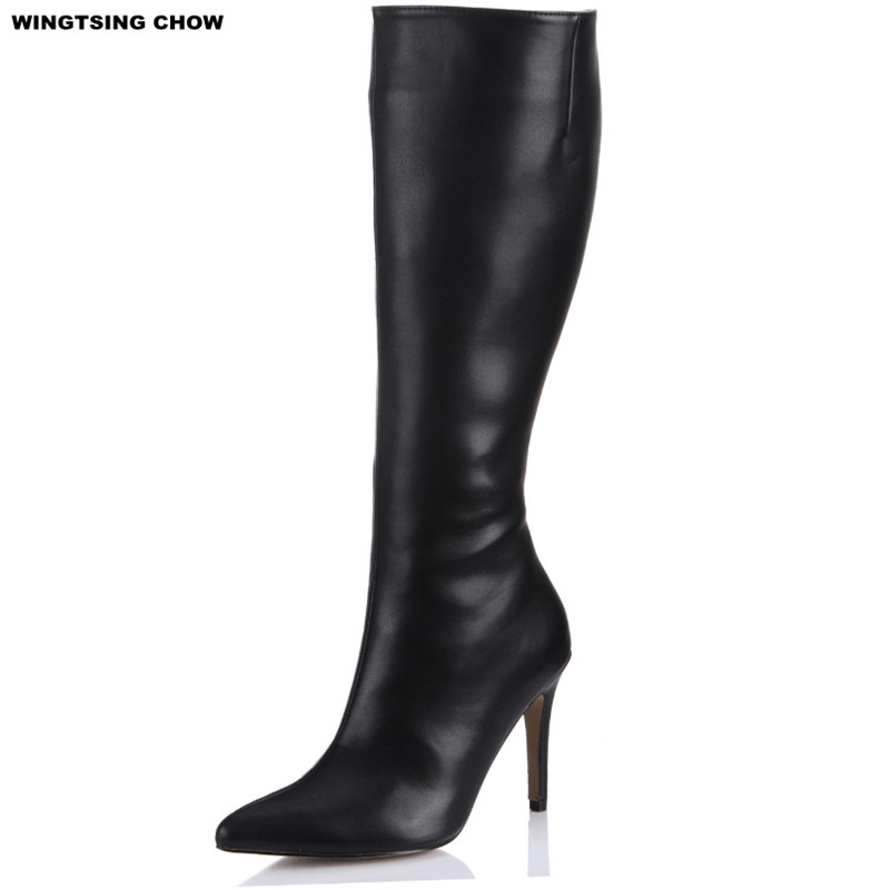 New Brand Autumn Shoes Leather Women Boots Black Sexy  Pointed Toe Knee High Boots Fashion Business Ladies Shoes Plus Size new spring autumn women shoes pointed toe high quality brand fashion ol dress womens flats ladies shoes black blue pink gray