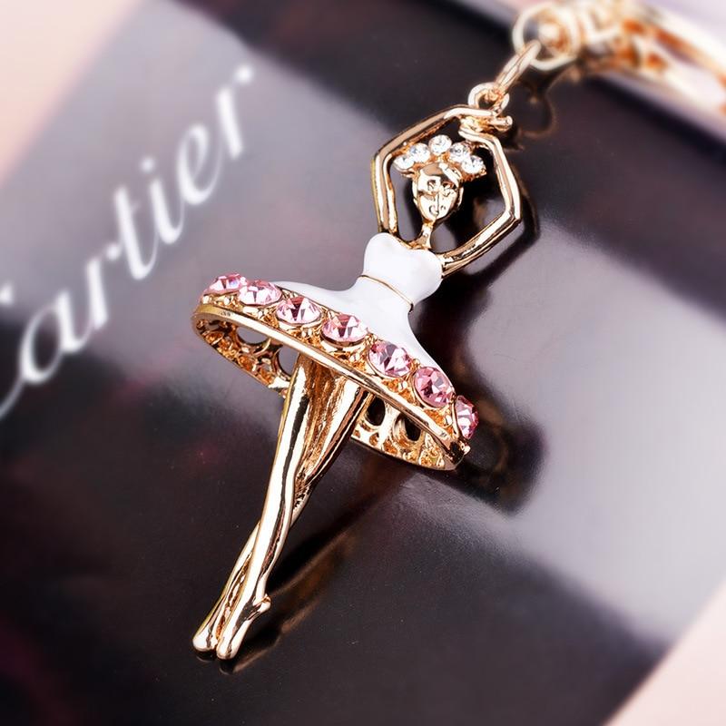 Aliexpress.com   Buy crystal ballet dancer key chains rhinestone girl  keyring fashion style keychain woman figure key ring bag key charms jewelry  from ... b0a595bf3ea1