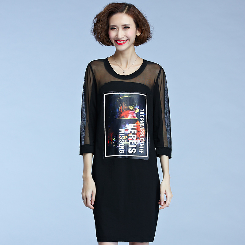 Autumn New Head Portrait font b Gauze b font Seven Part Sleeve Dress font b Women online get cheap womens gauze clothing aliexpress com alibaba group,B Gauze Womens Clothing
