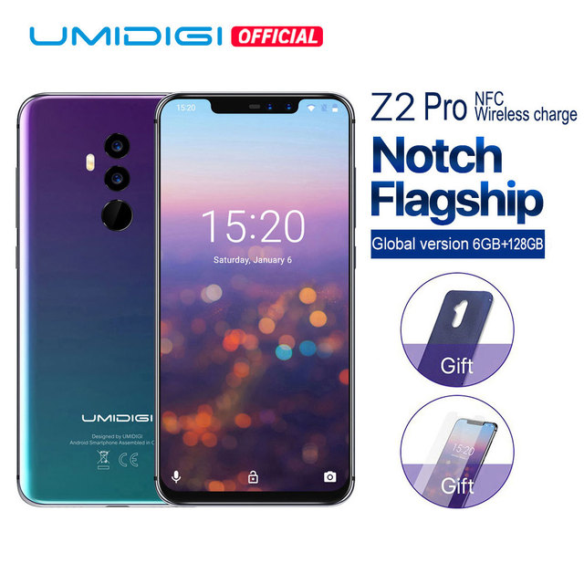 """UMIDIGI Z2 Pro Global Bands 19:9 6.2"""" 6GB+128GB Helio P60 Octa Core 2.0GHz Wireless Charge Android 8.1 Face Unlock Cellphone NFC"""