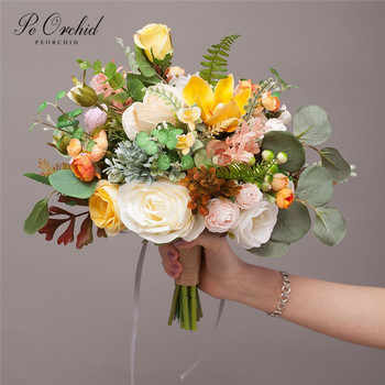 PEORCHID 2019 Country Style Wedding Bride Holding Flowers Artificial Orange Rose Green Eucalyptus Bouquet Bridal Decorative