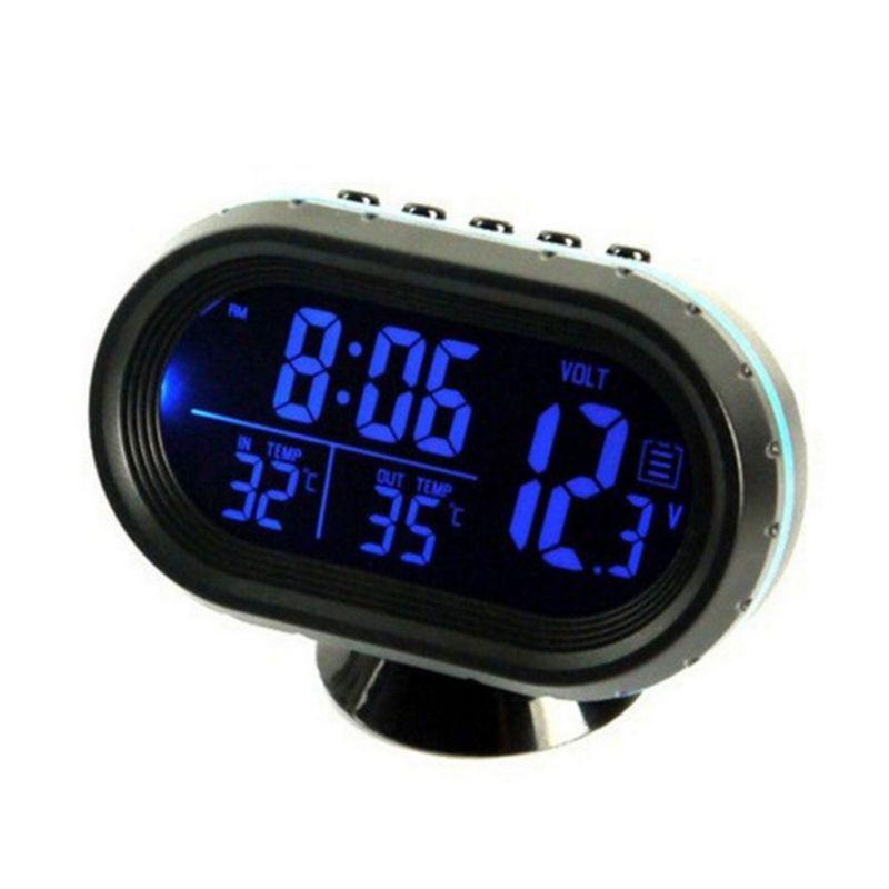 Hot Car Clock Electronic Thermometer Luminous Clock Multi-function Car Temperature Clock Voltmeter Car Styling