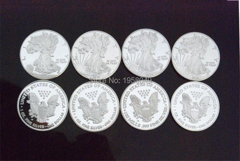 非磁性真鍮メッキシルバーリバティイーグルコイン 1 トロイオンスレプリカコイン、 4 ピース/ロット送料 shipping2000 、 2013,2014 、 2015