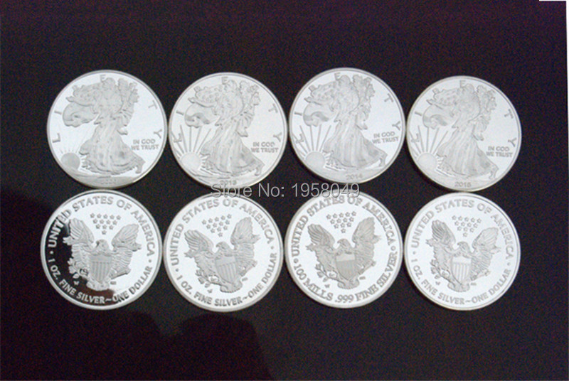Non Magnetic Brass Plated Silver Liberty Eagle Coins One Troy Ounce replica Coins,4pcs/lot Free shipping2000,2013,2014,2015