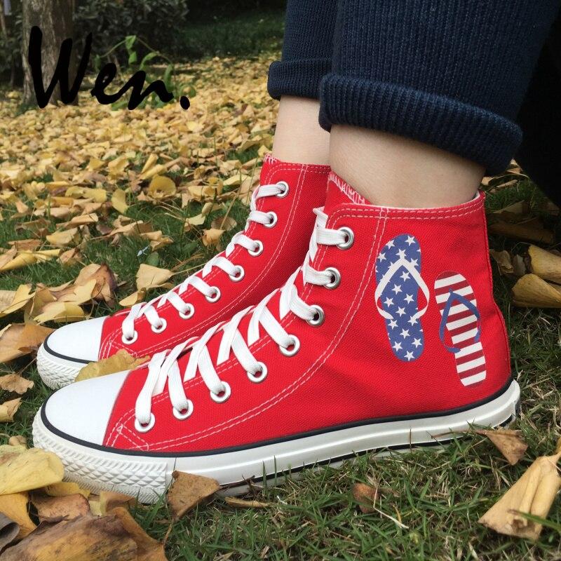 Wen chaussures en toile rouge Design tongs fête de l'indépendance américaine hommes femmes baskets hautes Plimsolls anniversaire cadeaux de noël