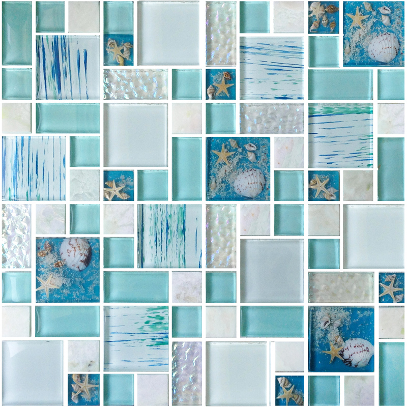 Glass mosaic tile interior wall mounted mosaic tile for Blue mosaic bathroom accessories