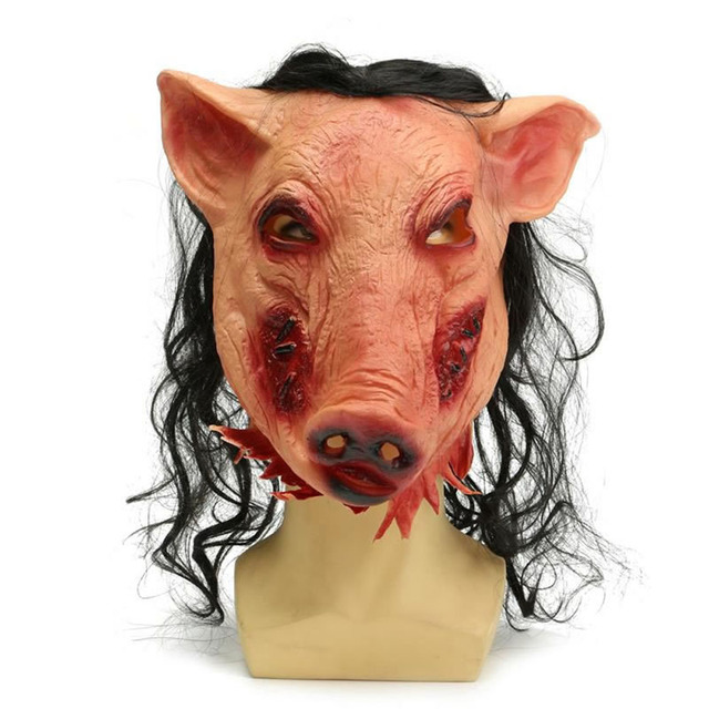 Hot Halloween Pig Head Mask With Hair Adult Saw Scary Cosplay Fancy Dress Costume  sc 1 st  AliExpress.com & Hot Halloween Pig Head Mask With Hair Adult Saw Scary Cosplay Fancy ...