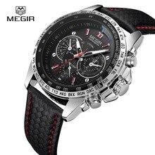 MEGIR Relógios dos homens Top Marca de Luxo Relógio de Quartzo Homens Moda Casual À Prova D' Água Luminosa Relógio Relogio masculino 1010