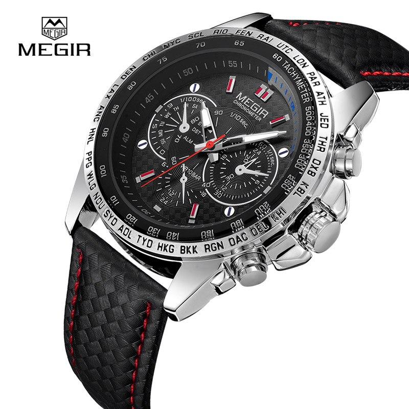 Megir Мужские часы лучший бренд класса люкс кварцевые часы Для мужчин модные Повседневное световой Водонепроницаемый часы Relogio Masculino 1010