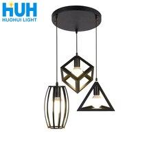 Винтажный светодиодный подвесной светильник, кухонная винтажная лампа E27 в стиле ретро, подвесной черный светильник для ресторана, светильник щение для дома