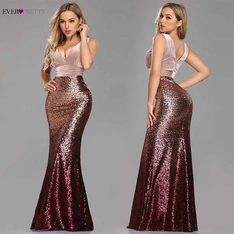 0981c468673d5 Robe De Soiree Ever Pretty EZ07767 New Sexy V-neck Sleeveless Mermaid  Burgundy Long Evening Dresses Elegant Abendkleider 2019