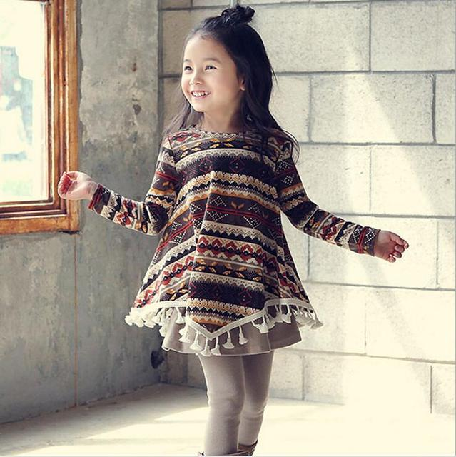 Hot Bohemian Baby Traditional Pattern Tels Loose Dress Kids Fall Clothes Vintage Styles