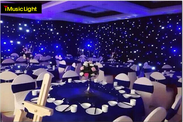 2mx3m Blue White Led Stage Drape Star Cloth Curtain