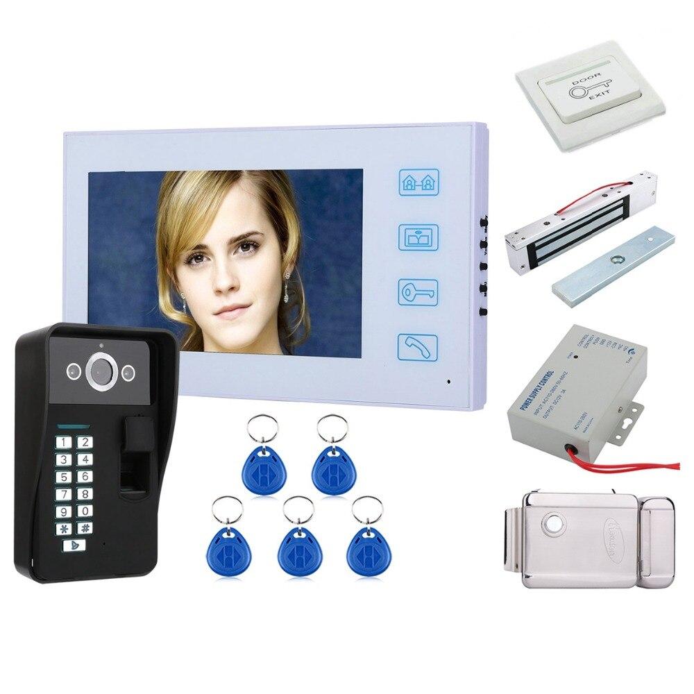 "Home Security 7"" TFT Fingerprint Recognition RFID Password Video Door Phone Intercom Doorbell With Night Vision+Electronic locks|Video Intercom|   - title="