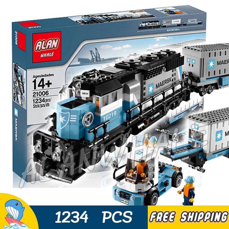 1234pcs Creator Maersk Trains Freight Cargo Locomotive 21006 Classical DIY Model Building Blocks Toy Bricks Compatible With lego