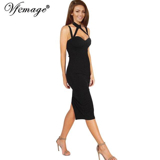 Vfemage женщины сексуальное спинки strappy холтер лето повелительница повседневная клуба партии вечер vestidos тонкий bodycon карандаш dress 6103