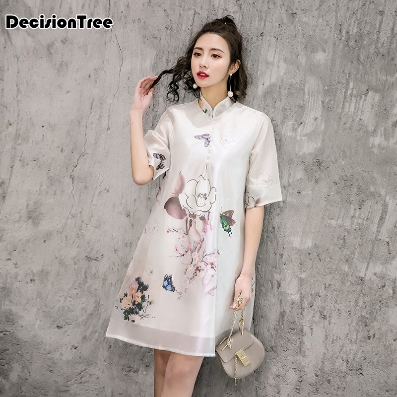 2019 summer ao dai dress aodai vintage ethnic aodai short sleeve qipao women silk long cheongsams dress for party