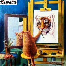 Dispaint Full Square/Round Drill 5D DIY Diamond Painting Cat tiger scenery 3D Embroidery Cross Stitch Home Decor A11959