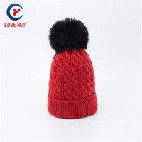 2017 25*23 cm jacquard ocasional que hace punto caliente de las mujeres skullies gorros gruesa negro bola de pelo cabeza roja tapas DS20170145 x110