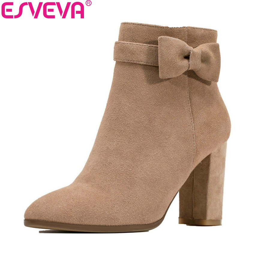ESVEVA 2019 Women Boots Round Toe Shoes Zip Short Plush Ankle Boots Square High Heels Butterfly-knot Woman Boots Shoe Size 34-39 esveva 2018 women boots high heels short plush buckle ankle boots square heels chunky pointed toe sexy fashion shoes size 34 39