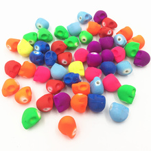 30Pcs Mixed Colourful Spacer Beads Skeleton Skull Head Halloween Acrylic Fashion Jewelry DIY Findings 13mm