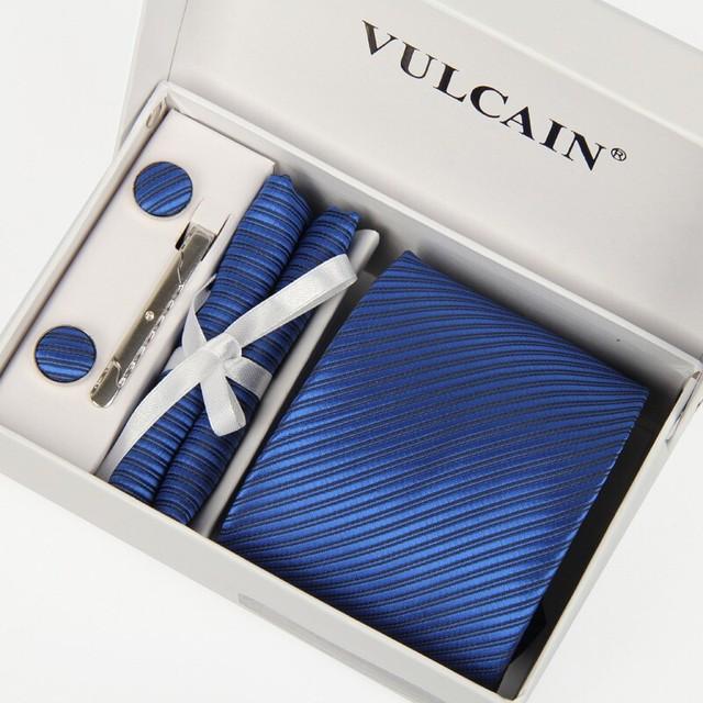 2014 nova azul gravatas & lenço cufflink caixa de presente e clipe de gravata 5 conjuntos for men gravata masculina lote