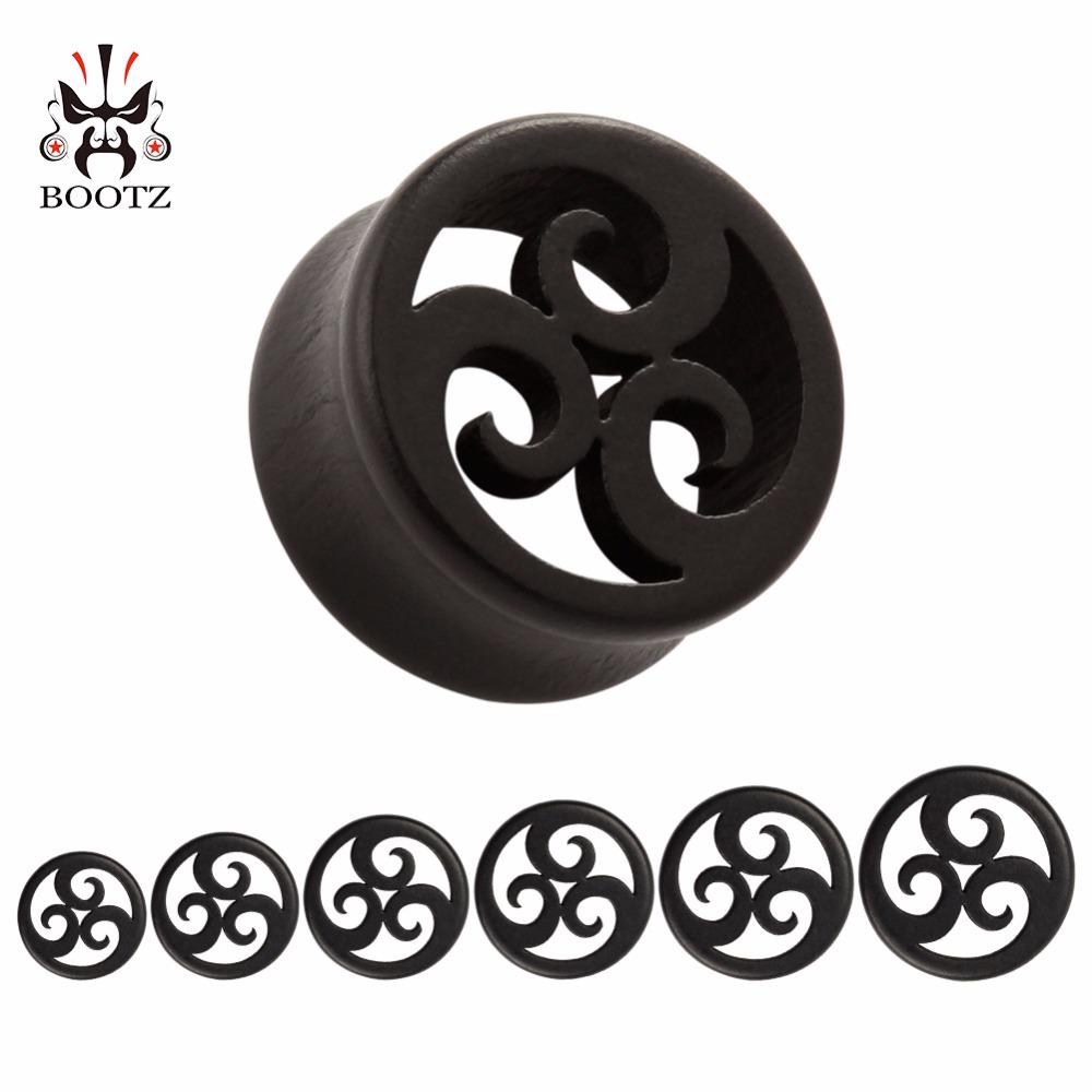 2016 new black wood ear plugs and tunnels piercing body jewelry ears gauges wholesale 10mm to