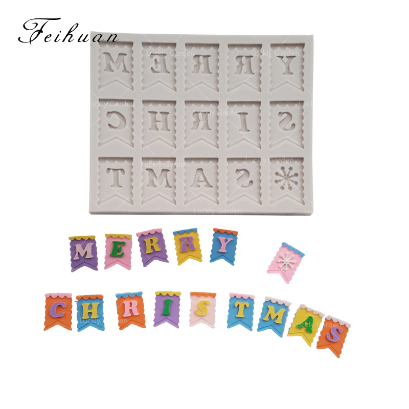 Feihuan 1pcs 3d Merry Christmas Letter Words Flag Shape Cake Fondant Silicone Mold Baking Tools Co Es Decoration Sugar Mould In Cake Molds From Home