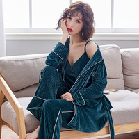 Autumn Winter Women Pajama Sets 3 Pieces Long Sleeve Long Pants With Camisole Sex Pajamas Solid Velour Sleepwear Home Clothes