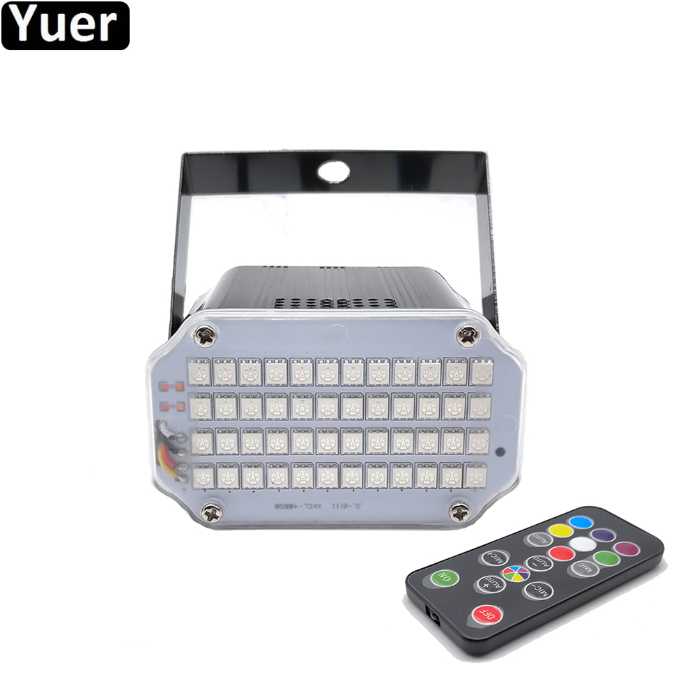 Aluminium Shell 48 LED Brighter DJ Disco Sound Activated Laser Projector Strobe Flash RGB Stage Lighting Effect Lamp Music Light