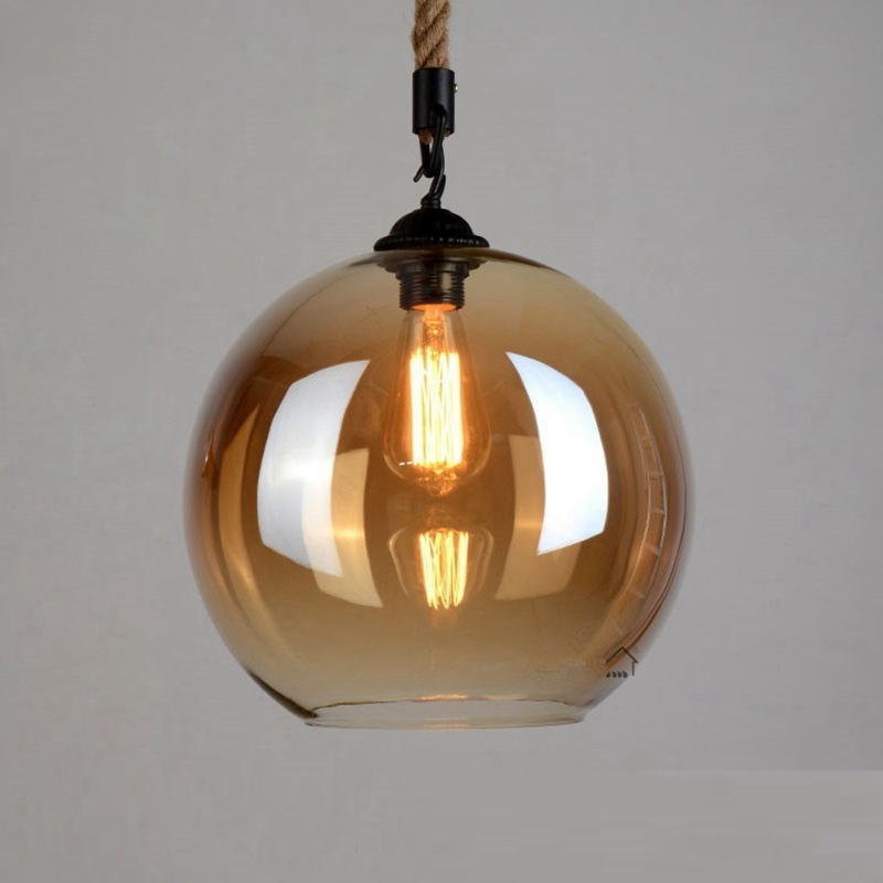 LukLoy Vintage Glass Rope Lamp Pendant Ceiling Lamps Loft for The Kitchen Led Pendant Lights Loft Hanglamp Hanging Light Fixture northern europe glass cage pendant light loft vintage birdcage pendant lights lamp metal glass hanging lamps for coffee shop bar