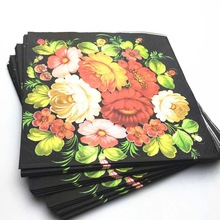 Ynaayu 20pcs/set Napkins 33*33cm Disposable Tableware 100% Nature Wood Vintage Paper Napkin Floral Napkins For Party Supples