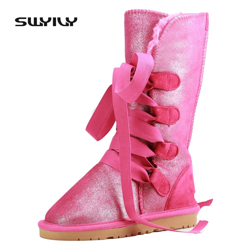 Waterproof Bright Snow Boots Plus Size 40 Winter Boots Women Lacing Up Female Cotton-Padded Flat Shoes Botas Femininas Leopard men casual shoes mens shoes summer walking canvas shoes black pu basket zapatillas deportivas men brand canvas espadrilles