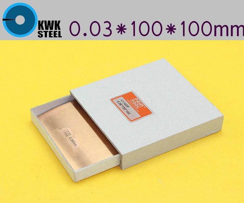 Copper Strips 0.03mm * 100mm *100mm Pure Cu Sheet  Plate High Precision 10pc Pure Copper Made In Germany