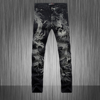 Spring 2015 Hot Men S Designers Jeans 3d Dragon Slim Fancy Mens Jeans Pants Men S