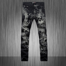 Spring 2015 Hot Men'S designers Jeans 3d Dragon Slim fancy mens jeans Pants Men's Gothic Trousers Male Long Jeans Black Pants