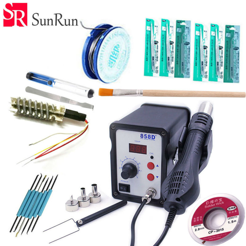 858D+ 110V / 220V Hot Air Gun 700W ESD Soldering Station LED Digital Heat Gun Desoldering Station 7 different model set meal hot air gun host does not include accessories 700w youyue 858d esd soldering station heat gun desoldering station host