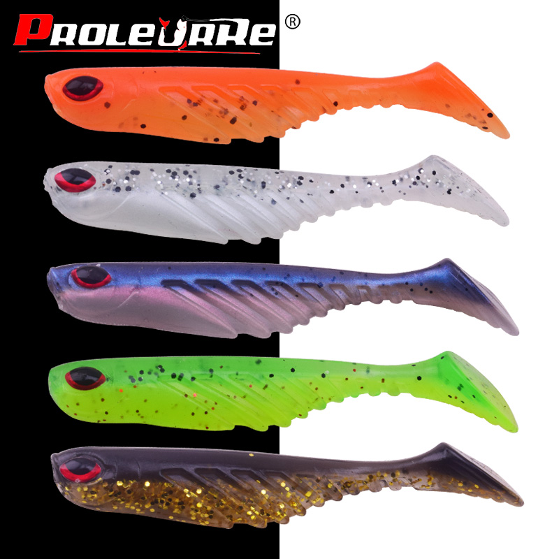 5Pcs Silicone Fishing Lures 70cm 2.9g jig head Wobblers Swim bait Artificial Soft Baits T tail Bass Carp fishing tackle PR-562
