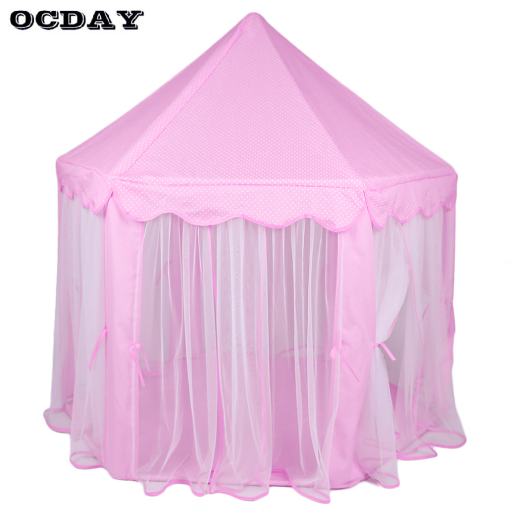 OCDAY Kids Play Tents Folding Toy Tent Pink Lovely Princess Castle Cute Playhouse Portable Play Tent Outdoor Toys For Children цена в Москве и Питере