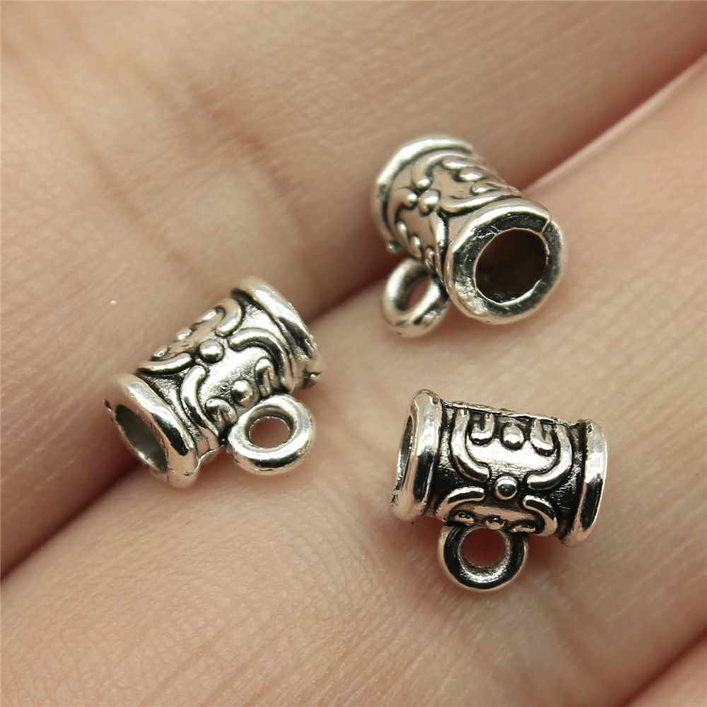 WYSIWYG 40pcs 7x7x5mm Antique Silver Beads Bails Charms Charm Clip Clasp Bail Beads Charms For Jewelry Making Charm Beads Bails