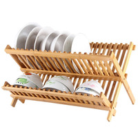 Collapsible Bamboo Drying Dish Rack | 2 Tier Level Folding Dish Rack for Counter Top | Quick Dry | Wooden Wood Dish Drainer