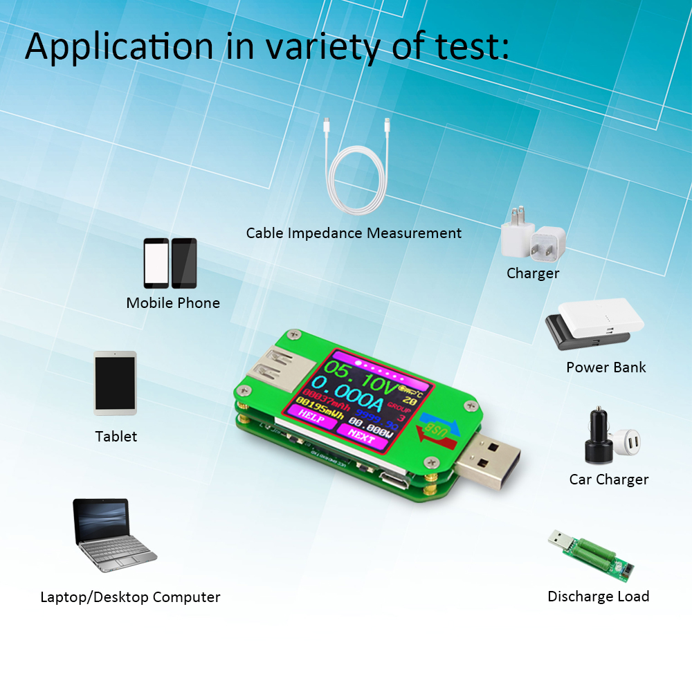 Color Lcd Voltage Current Meter 20 Usb Tester Voltmeter Ammeter Batterycharging Discharging Circuit Used In Laptop Applications Battery Charge Cable Impedance Communication Version Meters From Tools On